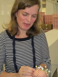 Silke Stoddard and a finished pincushion