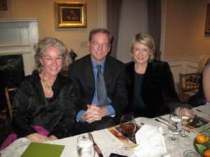 Suzy Buell, Eric Schmidt, and me in our beautiful gallery dining room.