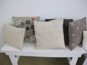 Stencilled cushions