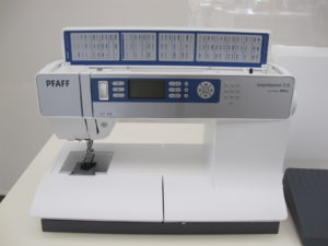 A PFAFF Expression 2.0 Sewing Machine.  It features the original IDT system which guarantees even fabric feed from top and bottom.  This machine was raffled to a lucky winner, courtesy of Above and Beyond Creative Sewing.