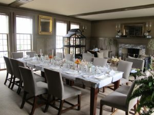 This is the 'brown room' where we can seat up to 16 guests at the table.