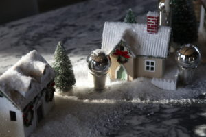 The village is sprinkled with artificial snow.