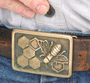 Guy's belt buckle - a very serious beekeeper!