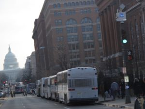 Thousands of buses had brought millions to the area.