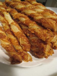 Pierre made puff pastry cheese straws - they were delicious!