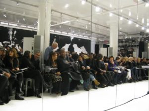 The Ralph Rucci fashion show is always an event I look forward to.  This year Ralph held his show in his atelier, or studio, right on lower Broadway.  White vinyl covered the floor and seats were arranged facing two long runways.
