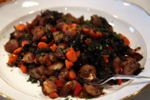 A platter of roasted potatoes, carrots, and kale - so many wonderful flavors.