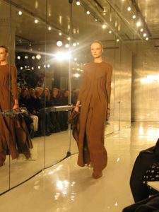 A big favorite - bronze wool crepe Dalai Lama coat and pants