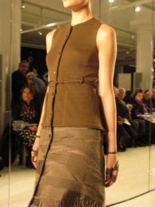 An olive wool jersey and taffeta dress