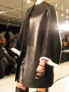 A black bonded leather coat and suit - this looked very wearable.