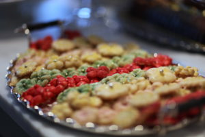 A selection of holiday cookies made with a cookie press