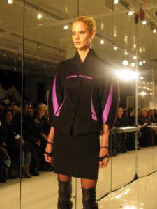 Amethyst slices brighten this black cashmere suit.