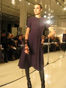 A violet wool crepe trapeze dress