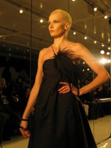 A black moire gown