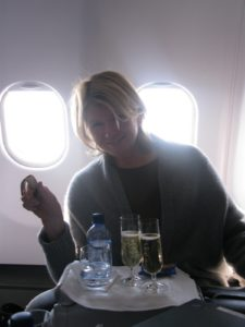 I actually do not drink alcoholic beverages on flights - Kevin and Susan do - instead, I drink lots and lots of water.
