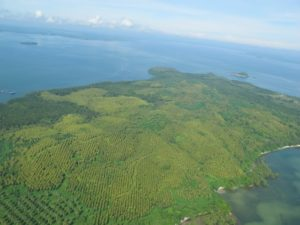 Productive farm land and the beautiful Celebes Sea