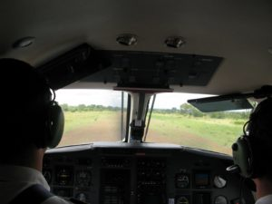 Here we are landing in Kruger on a grass strip.