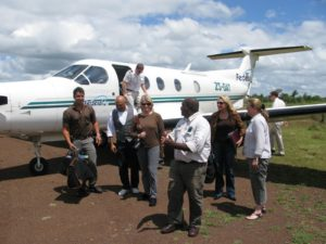 Disembarking the plane - The weather was glorious - sunny, 80-degrees, and blue skies.  We were met by our guide, Marlon du Toit, for our safari.
