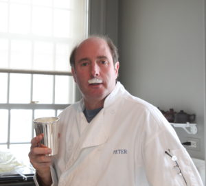My neighbor, Peter Michaels, having some fun with the eggnog foam - he came to the party wearing a chef's coat.