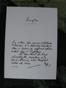 This is the greeting letter to all safari goers at Singita.