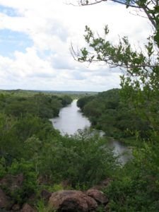The river below the lodge is teeming with wildlife.  We saw pods of hippos, herds of elephants, and many crocodiles.