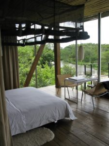 Kevin's room was two cabins from mine and he was closest to the river with the best view.  He was also closest to the wildlife, some of which visited him regularly - monkeys, and elephants - we were warned to keep our doors and windows locked.
