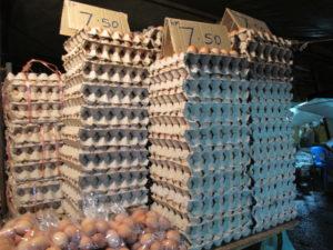 Stacks of fresh eggs