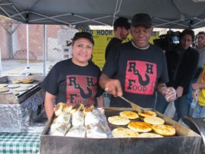 Rafael and Reina Soler, of Red Hook Foods, cook up some of their delicious tamales and pupusas - a traditional food of the Pipil/Mayan people of Cuzcatlan in modern day El Salvador