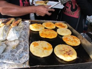The hot pupusas at Red Hook Food Vendors