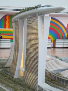 As you can see from this model, the Sands SkyPark is an awe-inspiring engineering wonder.  It opened officially on June 22 2010.