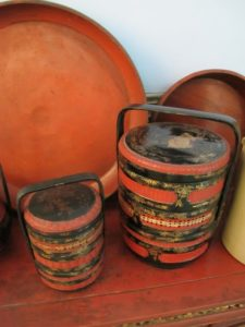 These are ornate lacquered stackable meal containers.