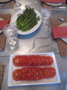 We had ripe tomato slices and a platter of asparagus.