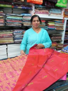 This woman was happy to show us some of her gorgeous saris.
