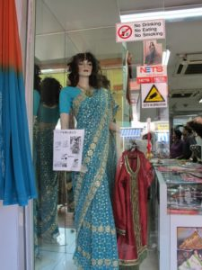 An especially pretty sari with gold threads woven throughout