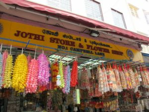 Fresh flower garlands are a circular symbol of love, peace, and purity for use in Hindu Temples in the neighborhood.