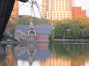 The Charles A. Dana Discovery Center sits across the water of the Harlem Meer, one of the many areas in the Park restored by the Central Park Conservancy.
