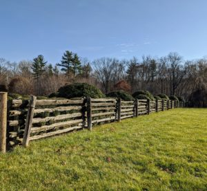 The antique pasture railings were constructed into a split rail fence around all my large horse paddocks. When putting up a wood fence, keep in mind the natural life of the wood being used. Many fences are made of cedar, spruce, and pine.