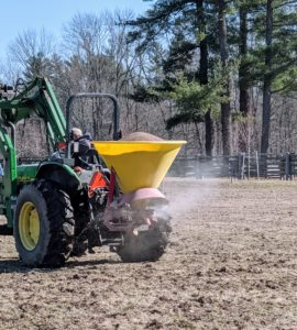 And then heads out to the next field. Rain is expected in the forecast later today, so this was a good time to apply the lime to empty fields. The fields where the horses are currently grazing were left alone and will be done at a separate time.