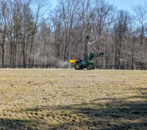 The tractor will make several passes up and down the fields before it is finished. Lime is also good for adding calcium and magnesium. The best way to determine if a soil is acidic or deficient in calcium or magnesium is with a soil test – available at your local cooperative extension.