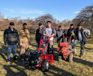 Here's the crew with our new Troy-Bilt Big Red Garden Tiller and my older model Troy-Bilt, which is still in working condition. Troy-Bilt introduced the first residential rototiller in 1937 and now has several rugged and reliable models to fit every need.