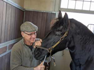 Brian is very gentle when floating teeth – being a lay equine dentist requires excellent horse skills.