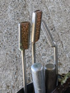 Each float is fitted with a sharp tungsten carbide blade made of chips that are bonded to the base. This is what files each tooth during the floating process. Brian has 10-floats in his bucket. The floats also come in varying angles for use on different teeth. By using these floats, Brian can file sharp enamel points to correct any dental imbalances.