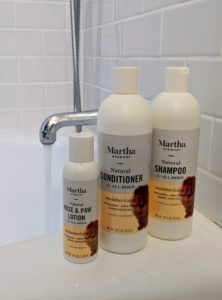 My line of shampoos and conditioners are all-natural, hypoallergenic and gentle enough for regular bathing. The formulas are also paraben and sulfate-free. My moisturizing shampoo and conditioner cleanse and intensely moisturize the dog's skin and coat. This formula is made with vanilla and almond. When bathing a dog, it's essential to use products made for dogs because of the differences in pH balance.