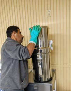 Carlos cleaned the Berkey. I already have an excellent well water set-up, but I wanted to eliminate the use of large plastic water drums and dispensers, so last year I got several Berkey Water Purification Systems for the farm. Each Berkey tank holds up to six gallons of water and can filter more than three-gallons per-hour. There is one in every outbuilding.