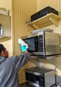 Or the microwave. The microwave is used by every member of the crew, so it is important it stays very clean.