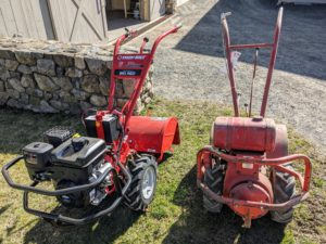 The older tiller is from the 1960s. It's provided years of great work here at the farm. And look, the new model has changed very little over the years - a sign of good design.