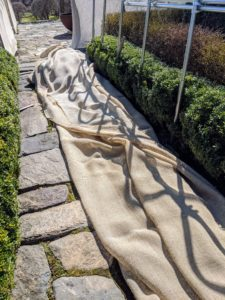 We use industrial burlap that's available in giant rolls of 40-inches or 60-inches wide. These covers are used for about three seasons before being replaced.