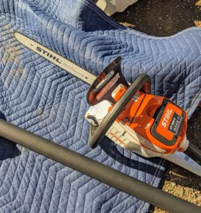 The chainsaw has soft grips for comfortability and secure maneuverability. And this one is run on an AP 300 S Lithium-Ion Battery, which is powerful and compatible with a wide range of tools, including extended-reach hedge trimmers, pole pruners, chainsaws, and blowers.