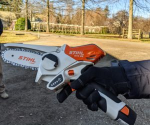 This mini saw fits right in the palm of one's hand and is great for smaller jobs and tight spaces.
