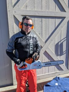 Here's Brian with STIHL's powerful battery-powered MSA 220 C chainsaw. It's capable of felling and limbing. Its durable construction and reliable performance make it a powerful addition for its size.